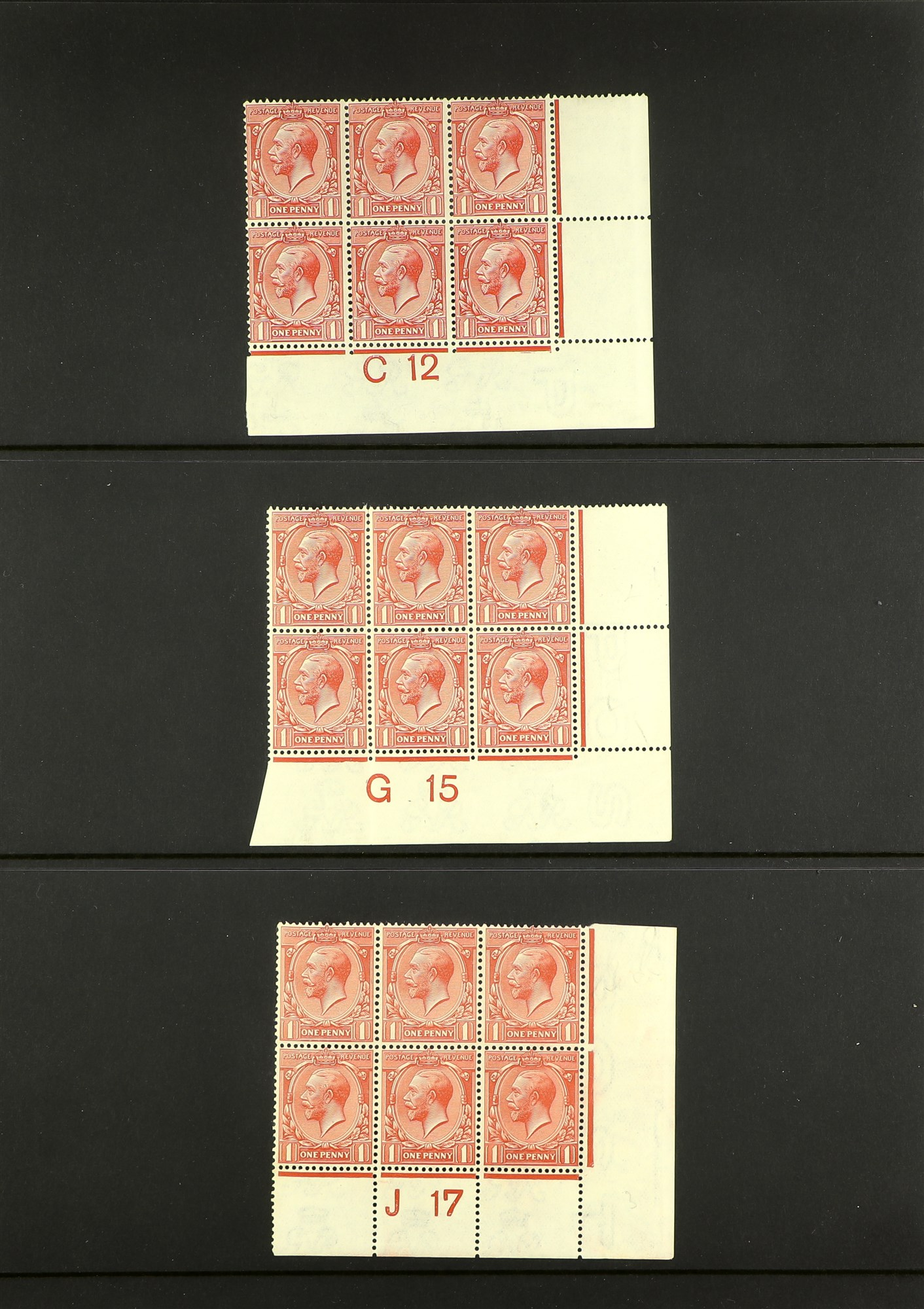 GB.GEORGE V 1912-24 Control blocks of six (one larger) with ½d (18) and 1d (3), mint. (21 items) - Image 4 of 4
