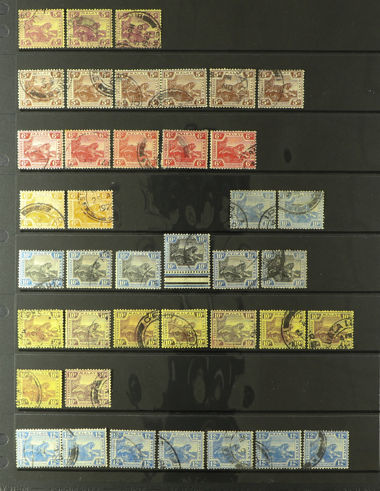 MALAYA STATES FEDERATED MALAY STATES 1900-1934 used ranges with many shades, wmk varieties & - Image 4 of 6