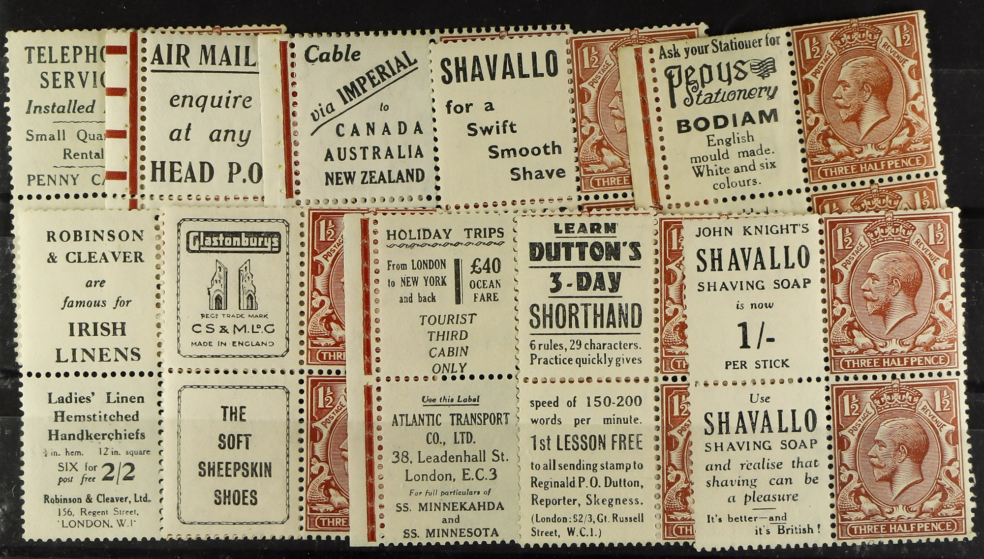 GB.GEORGE V 1924-26 1½d se-tenant Advert pane blocks of four, some with selvedge, fine mint. Panes