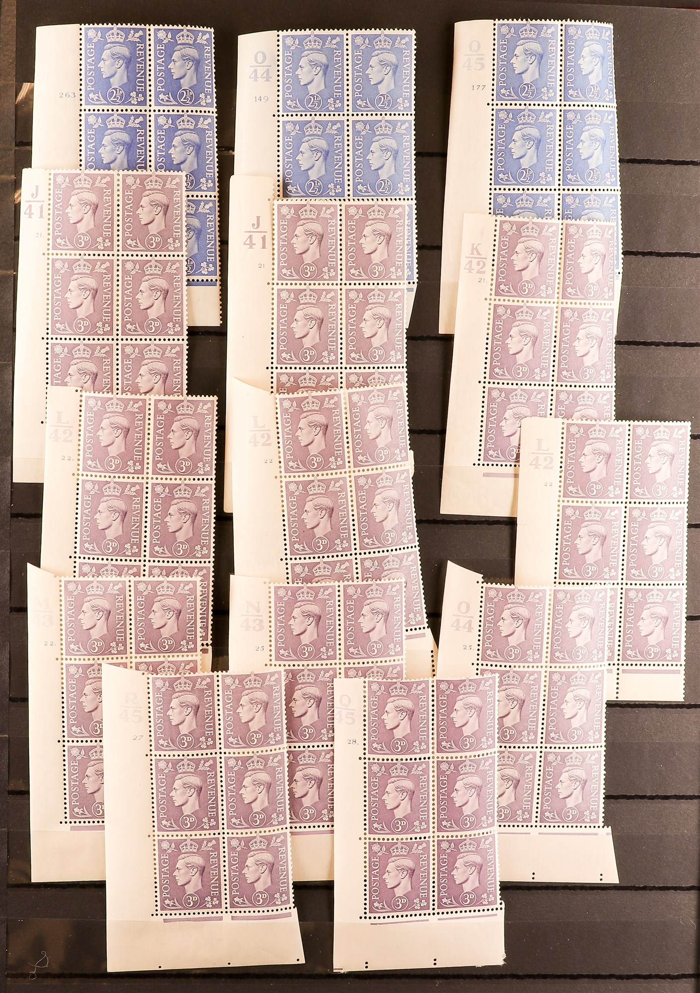 GB.GEORGE VI 1941-42 PALE AND 1950-52 NEW COLOURS CONTROL & CYLINDER BLOCKS OF SIX COLLECTION of all - Image 2 of 6