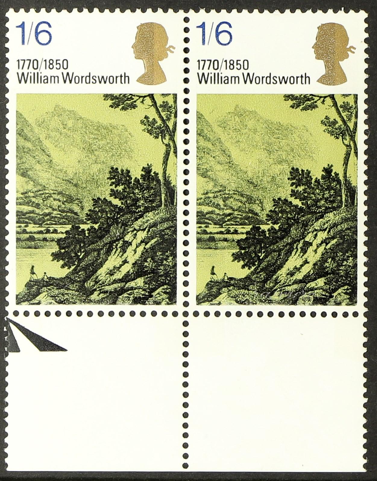 GB.ELIZABETH II 1970 LITERARY ANNIVERSARIES 1s.6d lower marginal pair, the left stamp showing silver