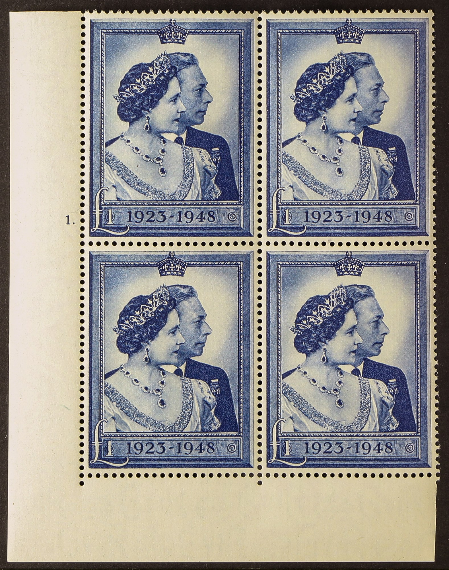 GB.GEORGE VI 1948 Silver Wedding £1, cylinder 1. block of four, never hinged mint. Cat £200.