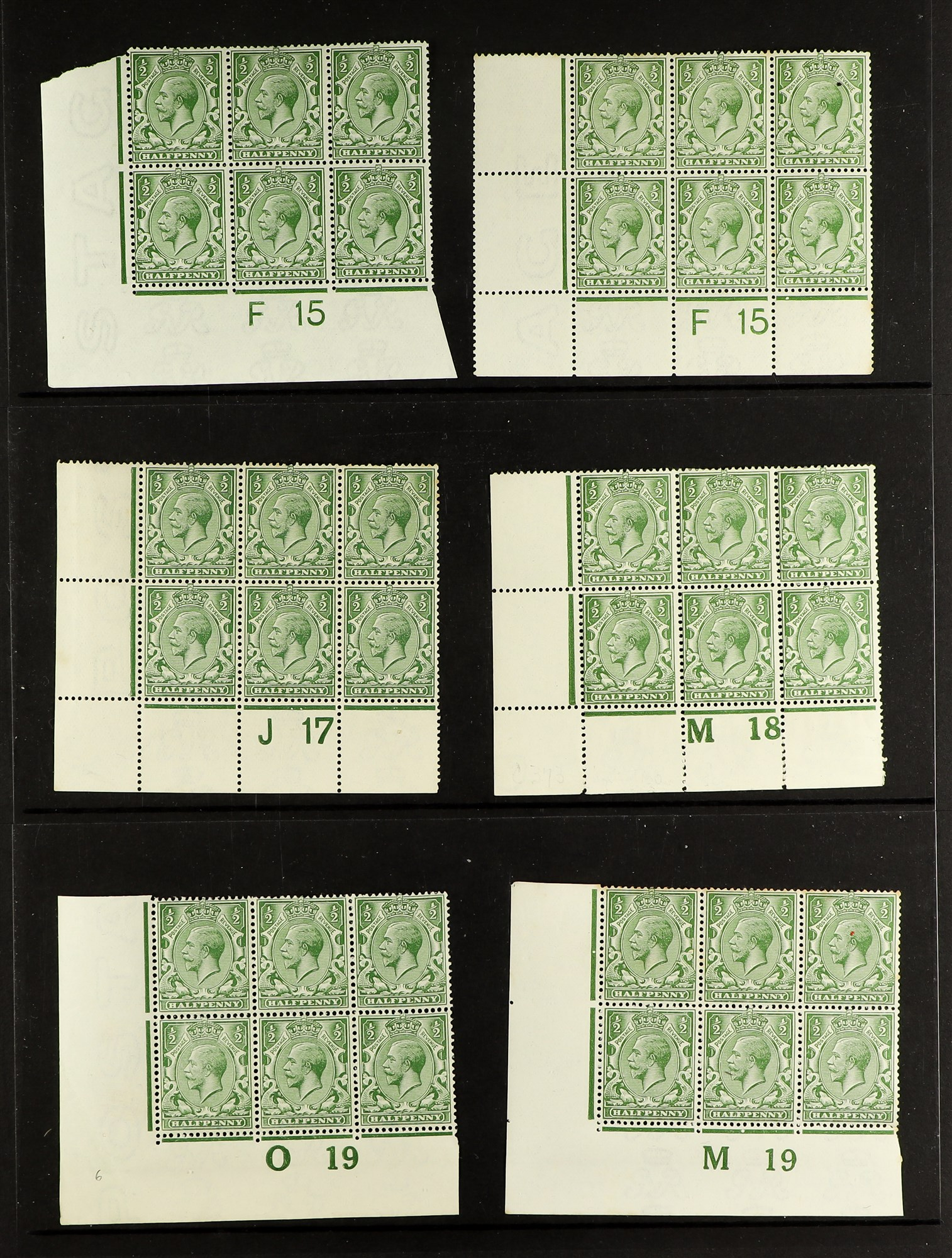 GB.GEORGE V 1912-24 Control blocks of six (one larger) with ½d (18) and 1d (3), mint. (21 items) - Image 3 of 4