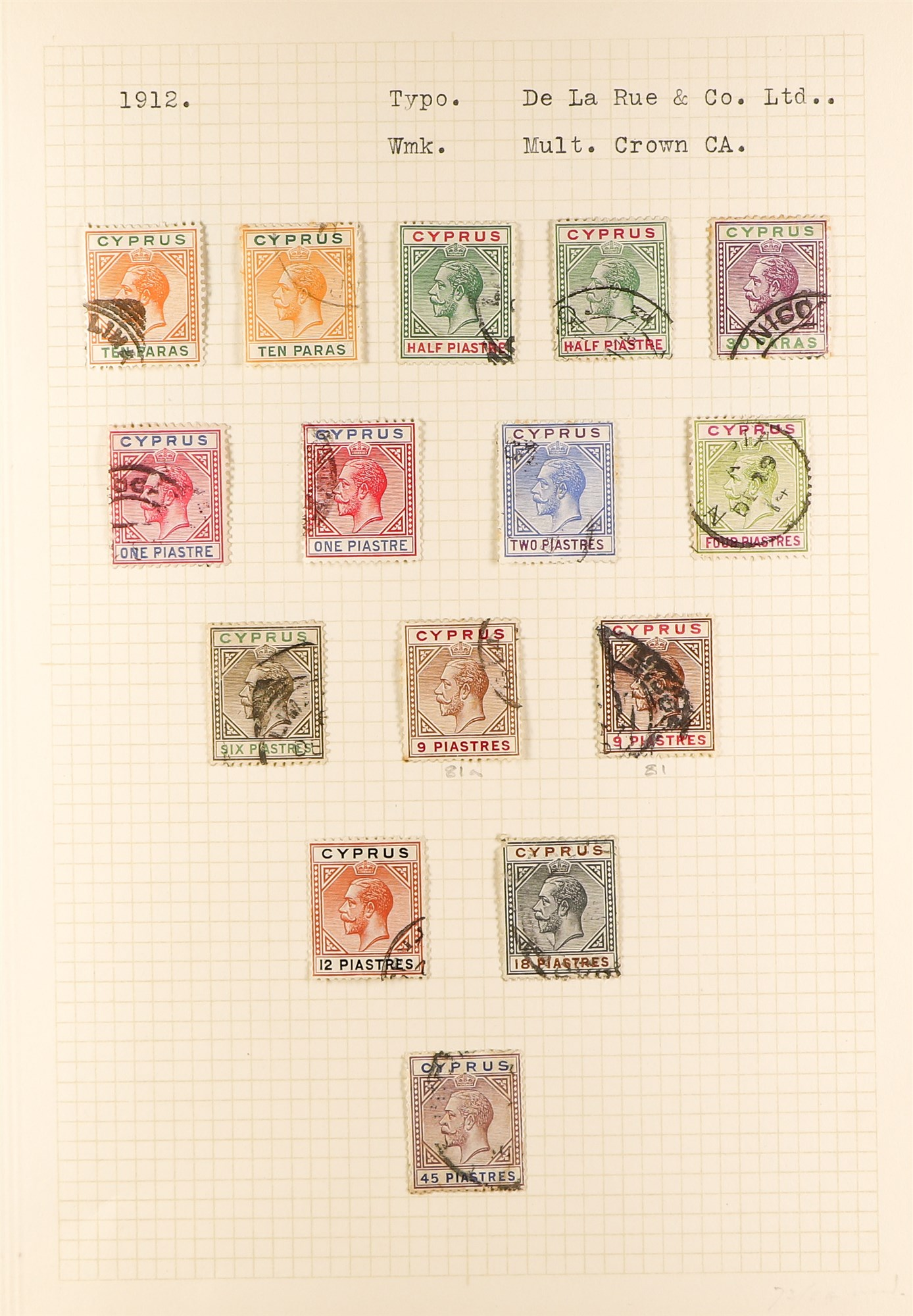 CYPRUS 1880-1935 old used collection incl. 1880 GB overprints including 2½d & ½d plate 15 used, - Image 4 of 7