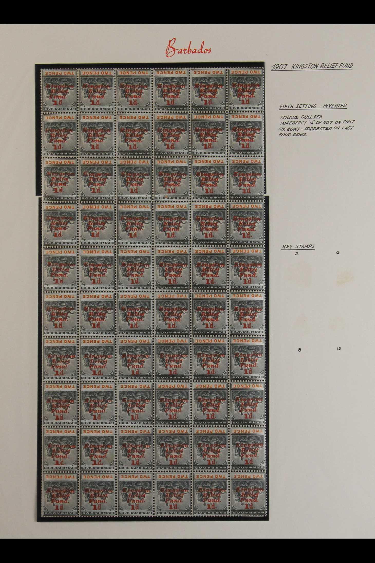 """BARBADOS 1907 1d on 2d slate-black & orange """"Kingston Relief Fund"""" inverted overprint, SG 153a, fine"""