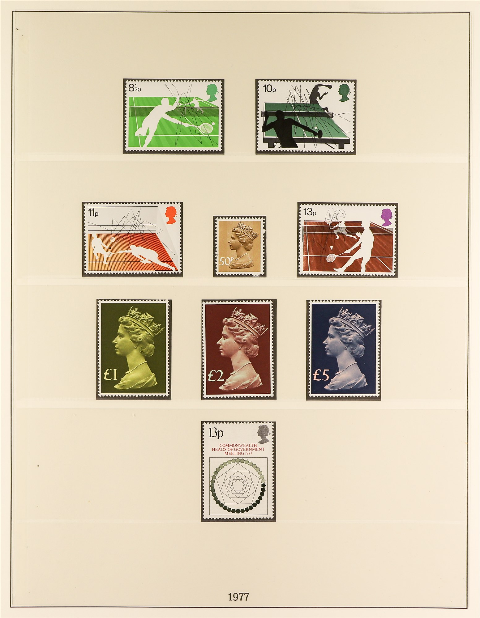 GB.ELIZABETH II 1971-85 never hinged mint run on a set of Lindner pages, incl. some Machins to £5