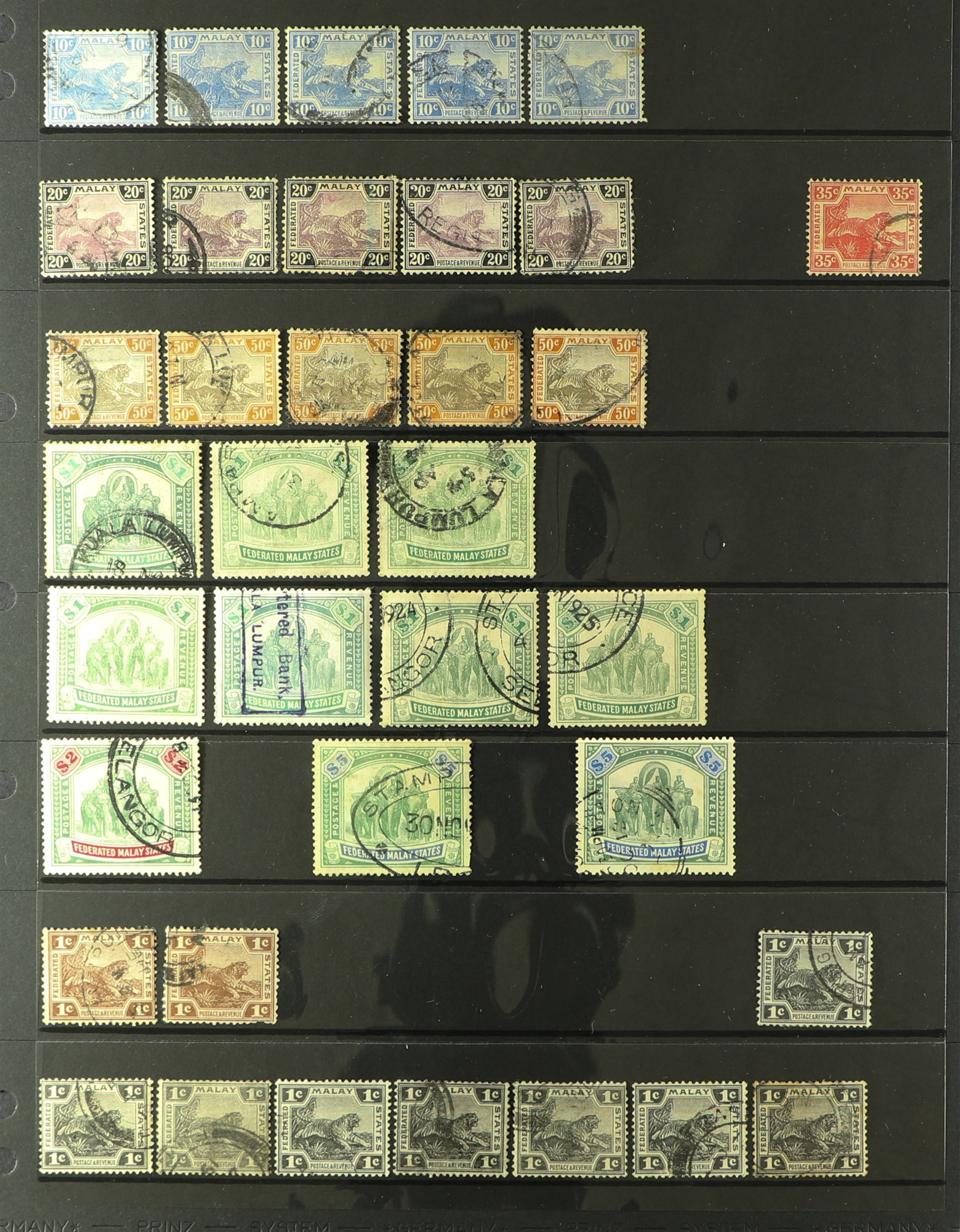 MALAYA STATES FEDERATED MALAY STATES 1900-1934 used ranges with many shades, wmk varieties & - Image 3 of 6