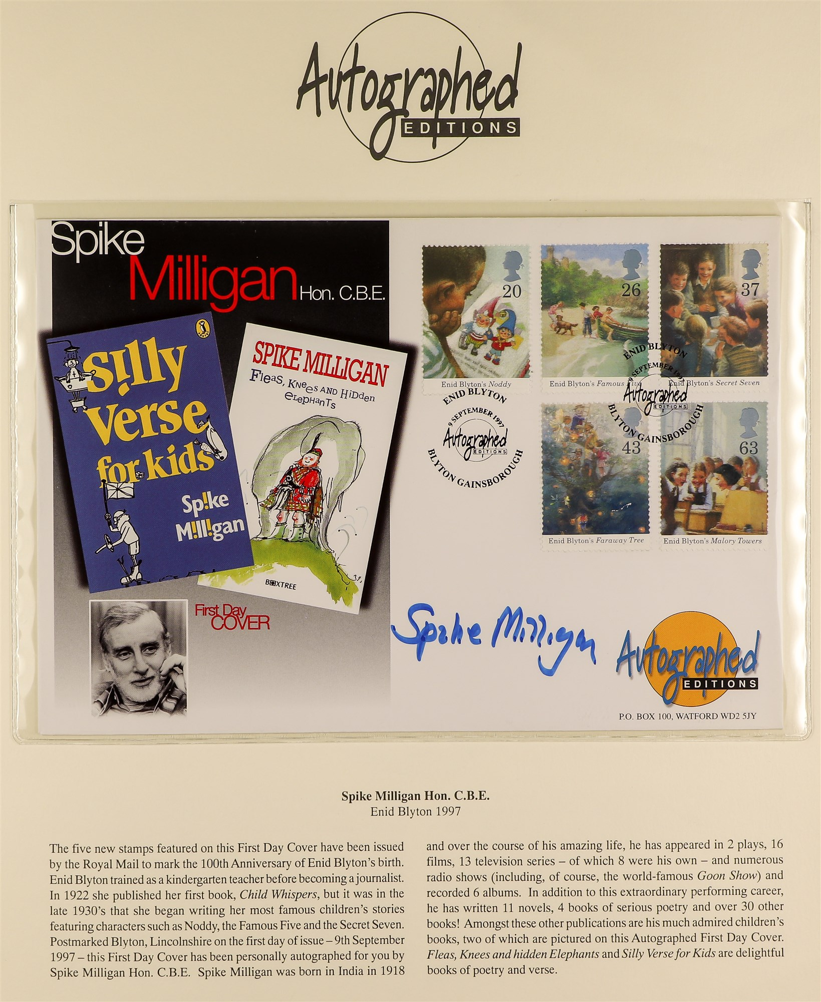 GREAT BRITAIN 1997-98 AUTOGRAPHED COVERS - COMEDIANS 1997 Enid Blyton FDC with illustration of and