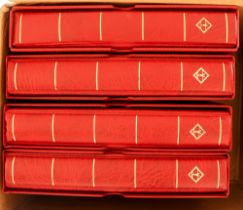 LIGHTHOUSE BINDERS Four empty matching red Lighthouse (Leuchtturm) 4-ring binders with slipcases.