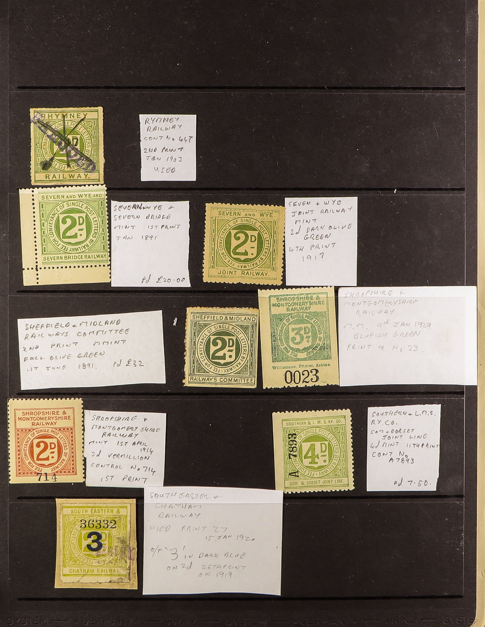 GREAT BRITAIN RAILWAY LETTER AND NEWSPAPER STAMPS 1890's-1940's COLLECTION in two albums, mint and - Image 12 of 24