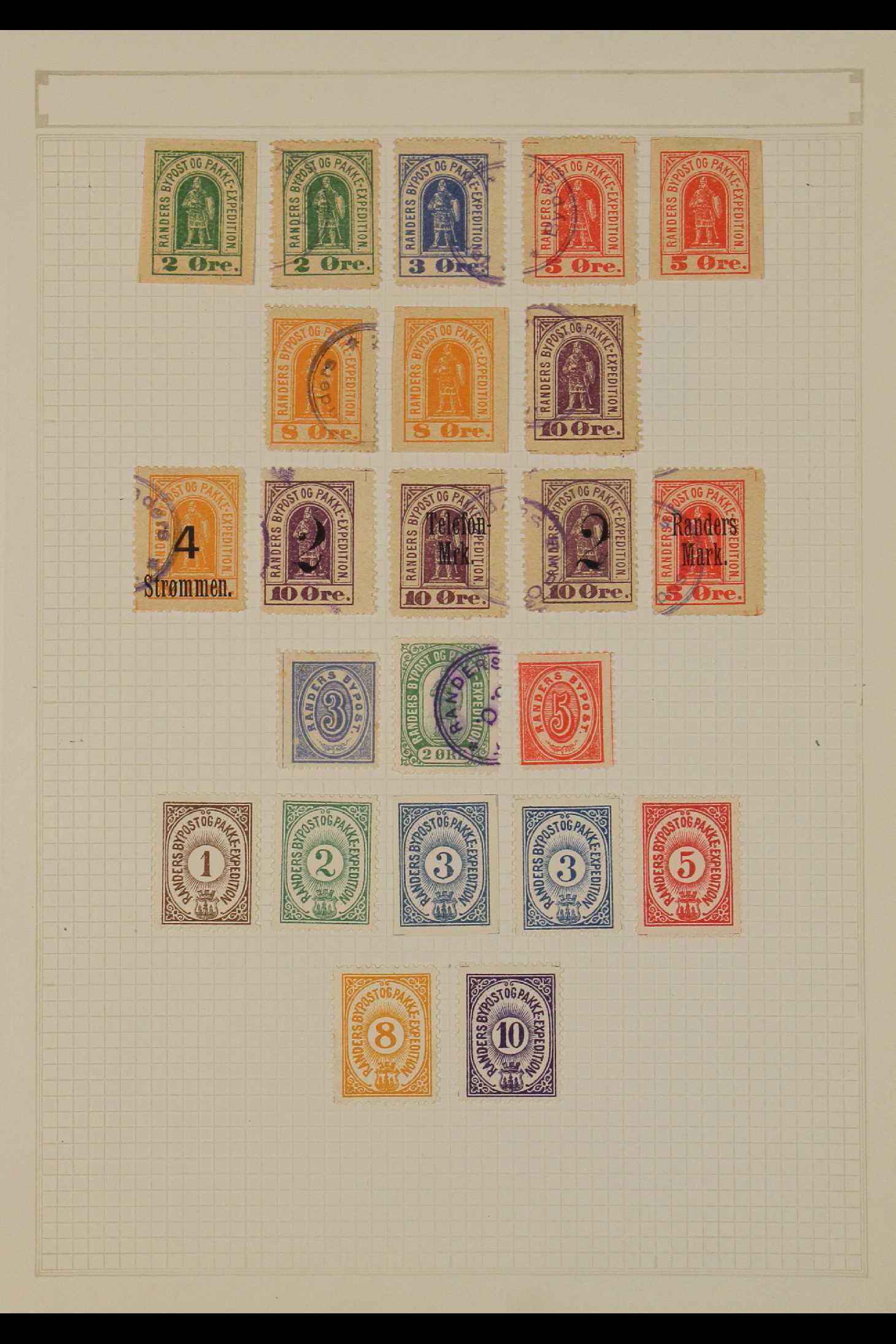 DENMARK LOCAL POST STAMPS - RANDERS 1885-89. MINT & USED ranges incl. inverted surcharges, - Image 3 of 4