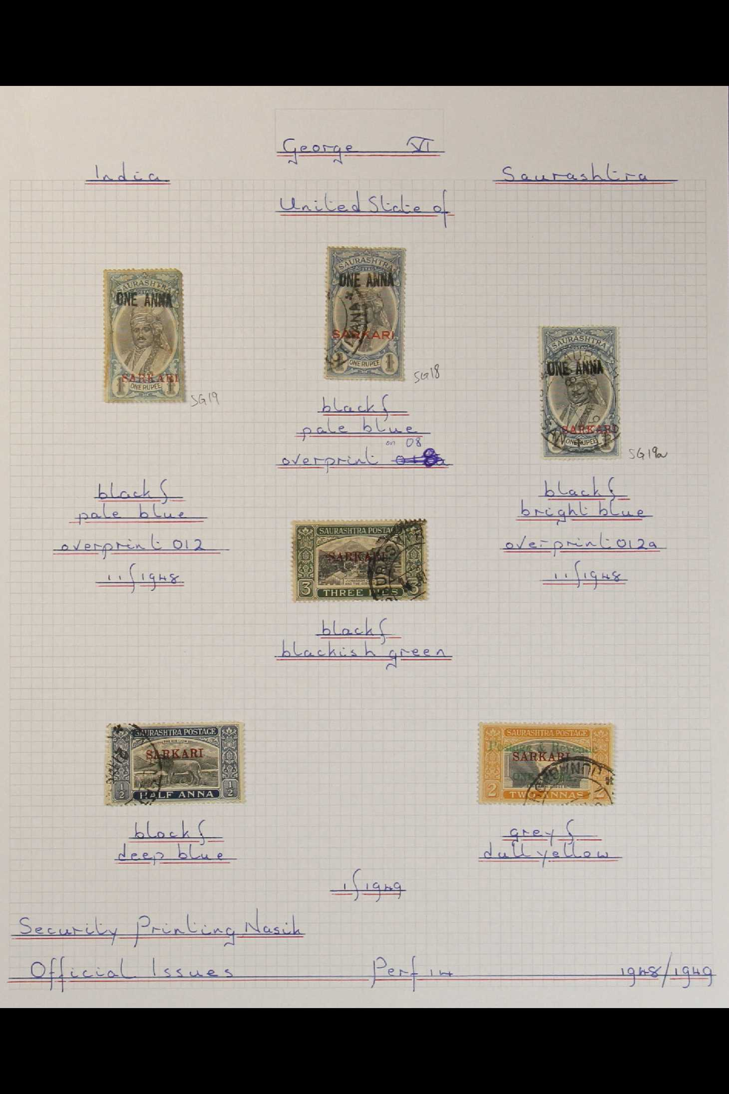 INDIAN FEUDATORY STATES SAURASHTRA 1949-1950 USED COLLECTION on leaves, includes 1949 1a on ½a opt - Image 2 of 3