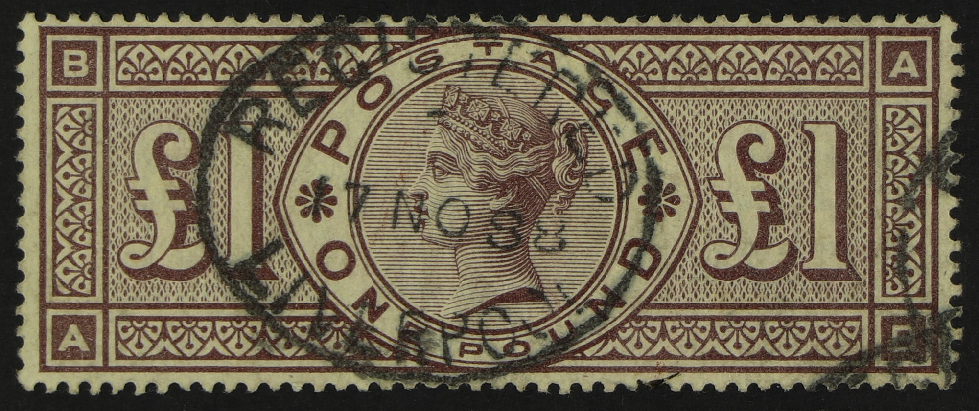 GB.QUEEN VICTORIA 1888 £1 brown-lilac, watermark Orbs, SG 186, neat Liverpool 1888 oval Registered