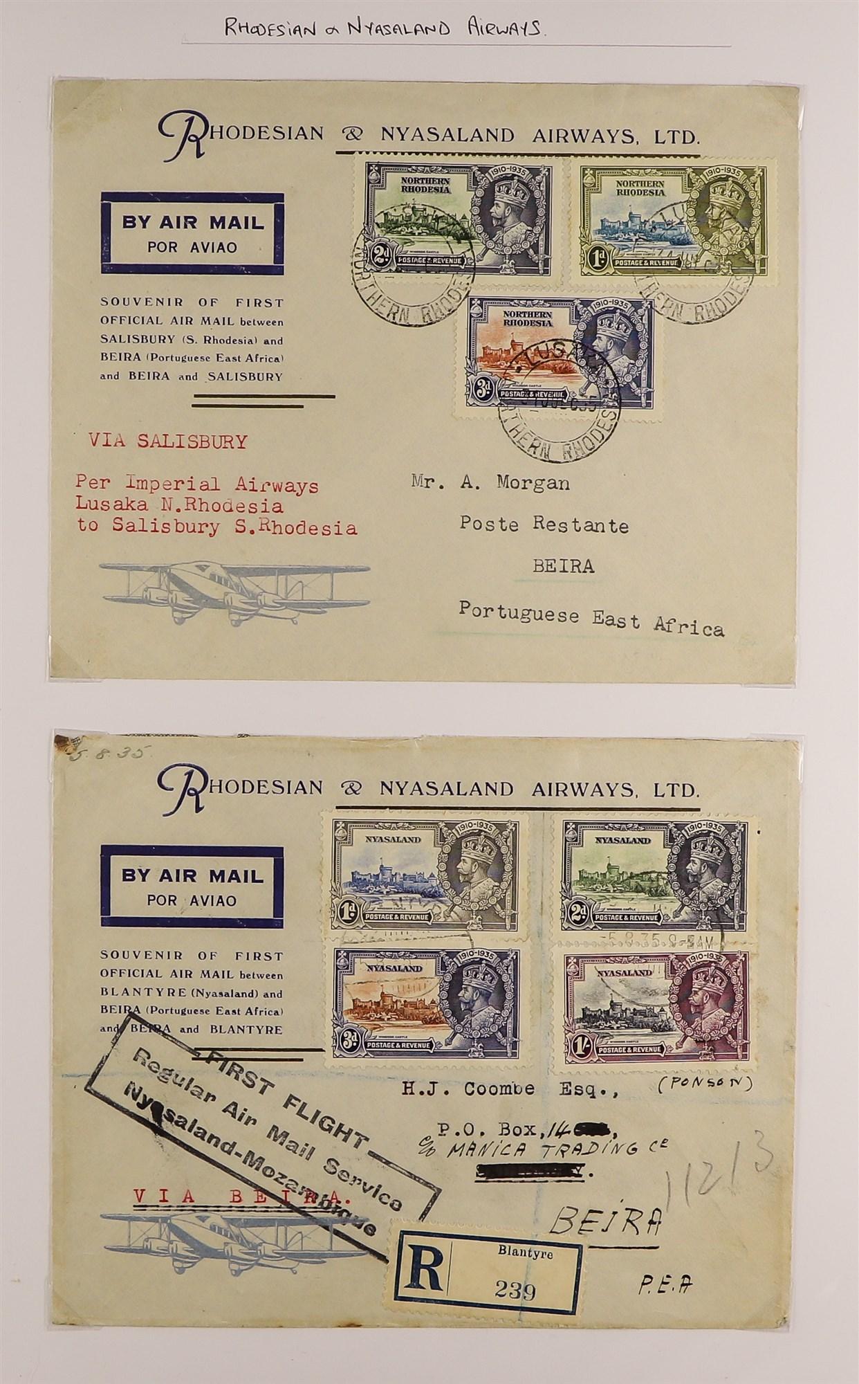 RHODESIA AIRMAIL COVERS COLLECTION 1930's-60's with Rhodesian & Nyasaland Airways (15), Nyasaland-