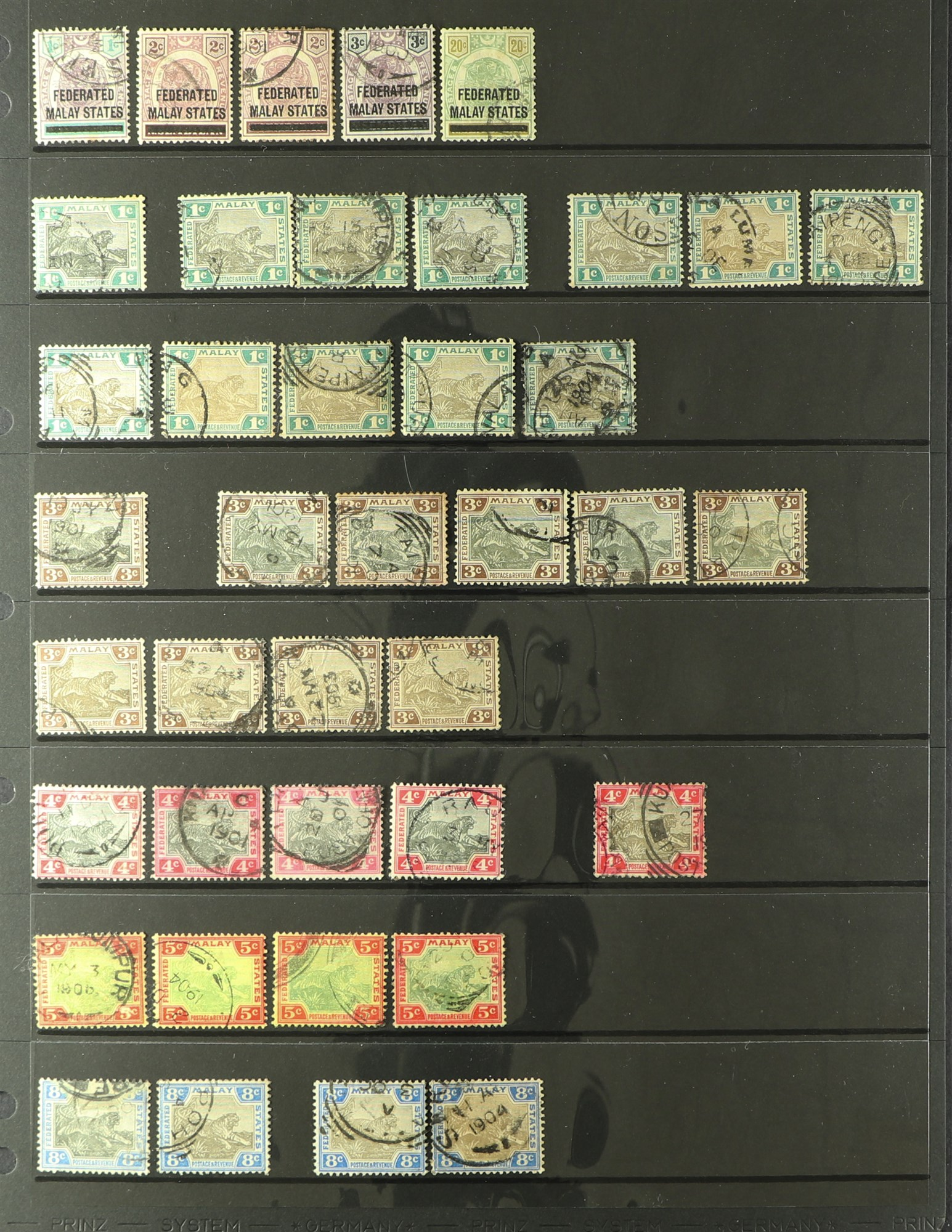 MALAYA STATES FEDERATED MALAY STATES 1900-1934 used ranges with many shades, wmk varieties &