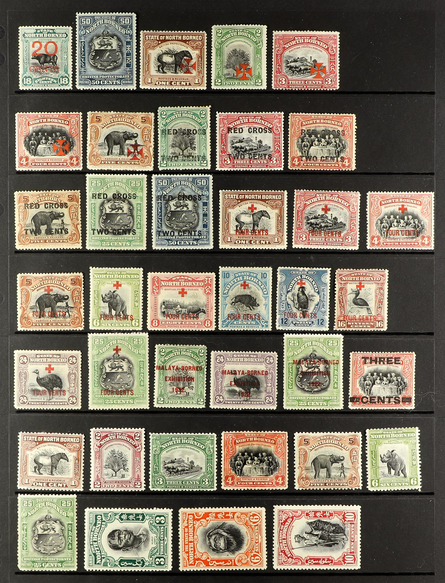 NORTH BORNEO 1909-31 a fresh mint range, all different and way above average for these. S.T.C. £