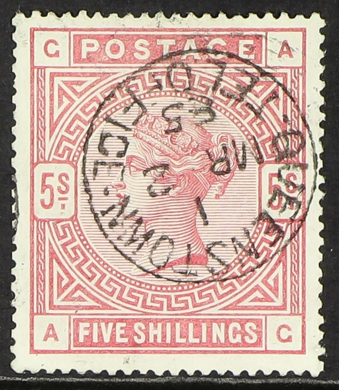 GB.QUEEN VICTORIA 1883-84 5s rose on blued paper, SG 176, fine used with Queenstown Tel Office