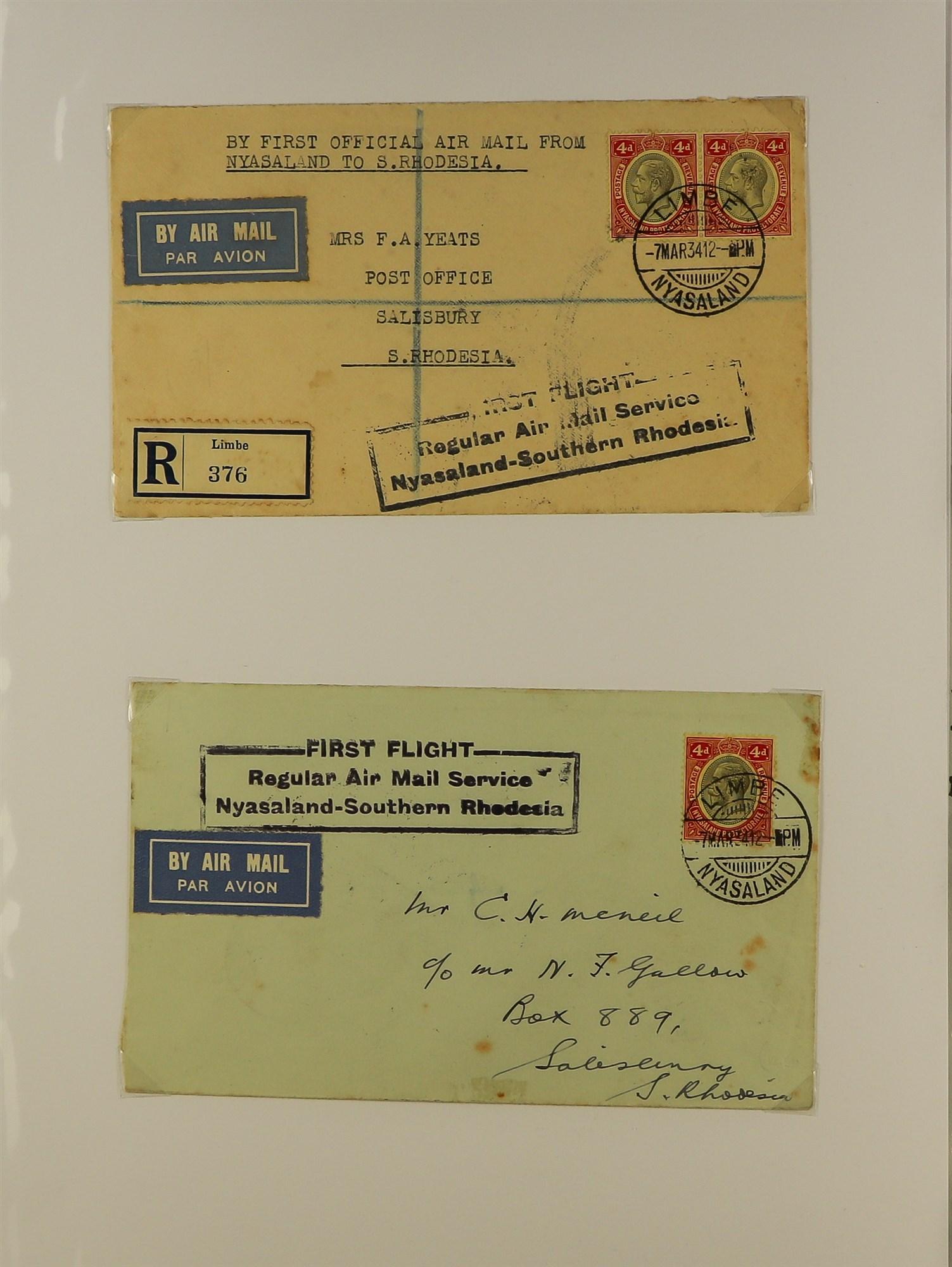 RHODESIA AIRMAIL COVERS COLLECTION 1930's-60's with Rhodesian & Nyasaland Airways (15), Nyasaland- - Image 4 of 10