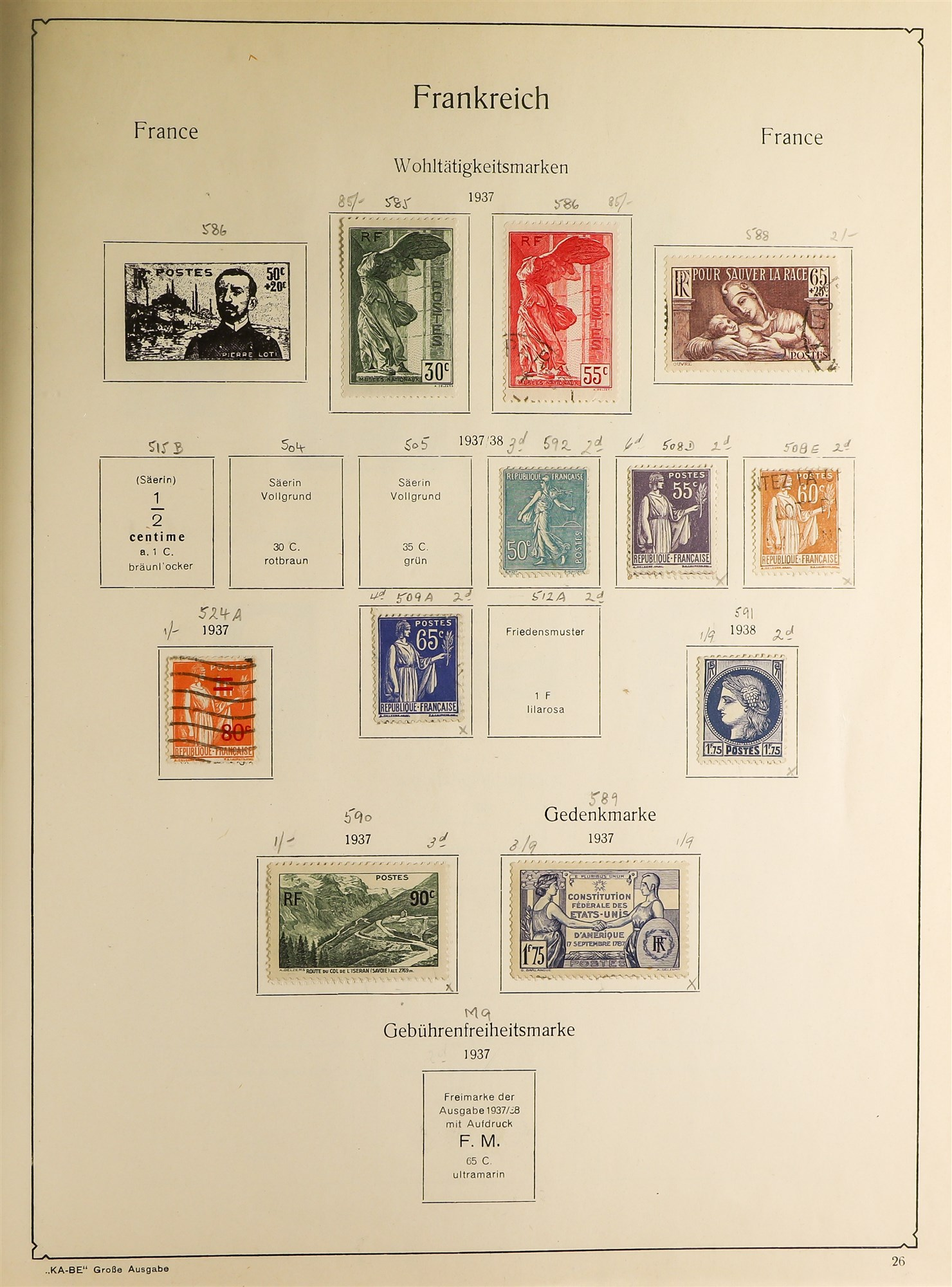 COLLECTIONS & ACCUMULATIONS FRANCE, GERMANY, SWITZERLAND IN TWO LARGE KA-BE ALBUMS with useful