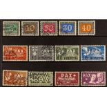 SWITZERLAND 1945 Peace set, Mi. 447/459, fine used, Cat €1000. (13 stamps)