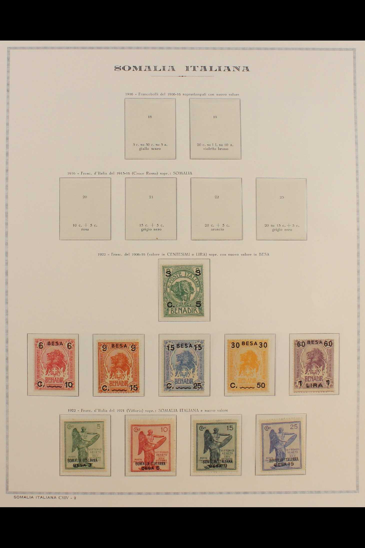 ITALIAN COLONIES SOMALIA 1922-1940 fine mint collection incl.1922 surcharged set, 1923 Fide set NHM,
