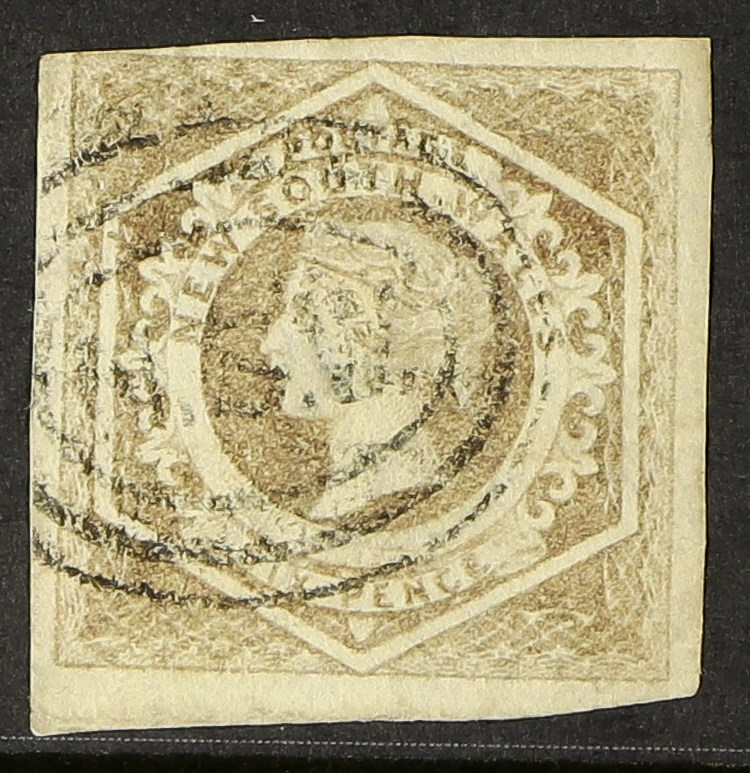 """AUSTRALIAN STATES NEW SOUTH WALES 1854-59 6d greyish brown Diadem, watermark """"8"""", SG 96a, clear to"""