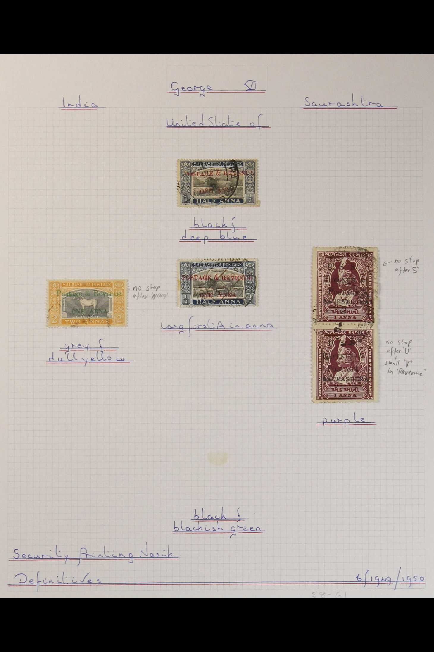 INDIAN FEUDATORY STATES SAURASHTRA 1949-1950 USED COLLECTION on leaves, includes 1949 1a on ½a opt - Image 3 of 3