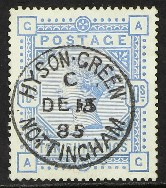 GB.QUEEN VICTORIA 1883-84 10s ultramarine on blued paper, SG 177, very fine used with central