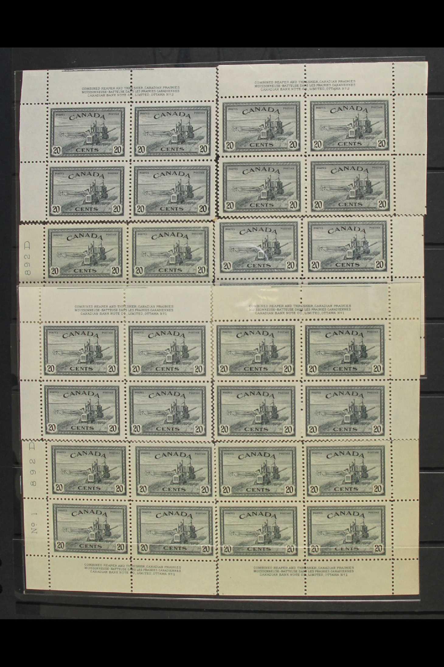 "CANADA 1946 20c slate ""Combine Harvester"", SG 404, Plates 1 and 2, imprint corner blocks of four for"