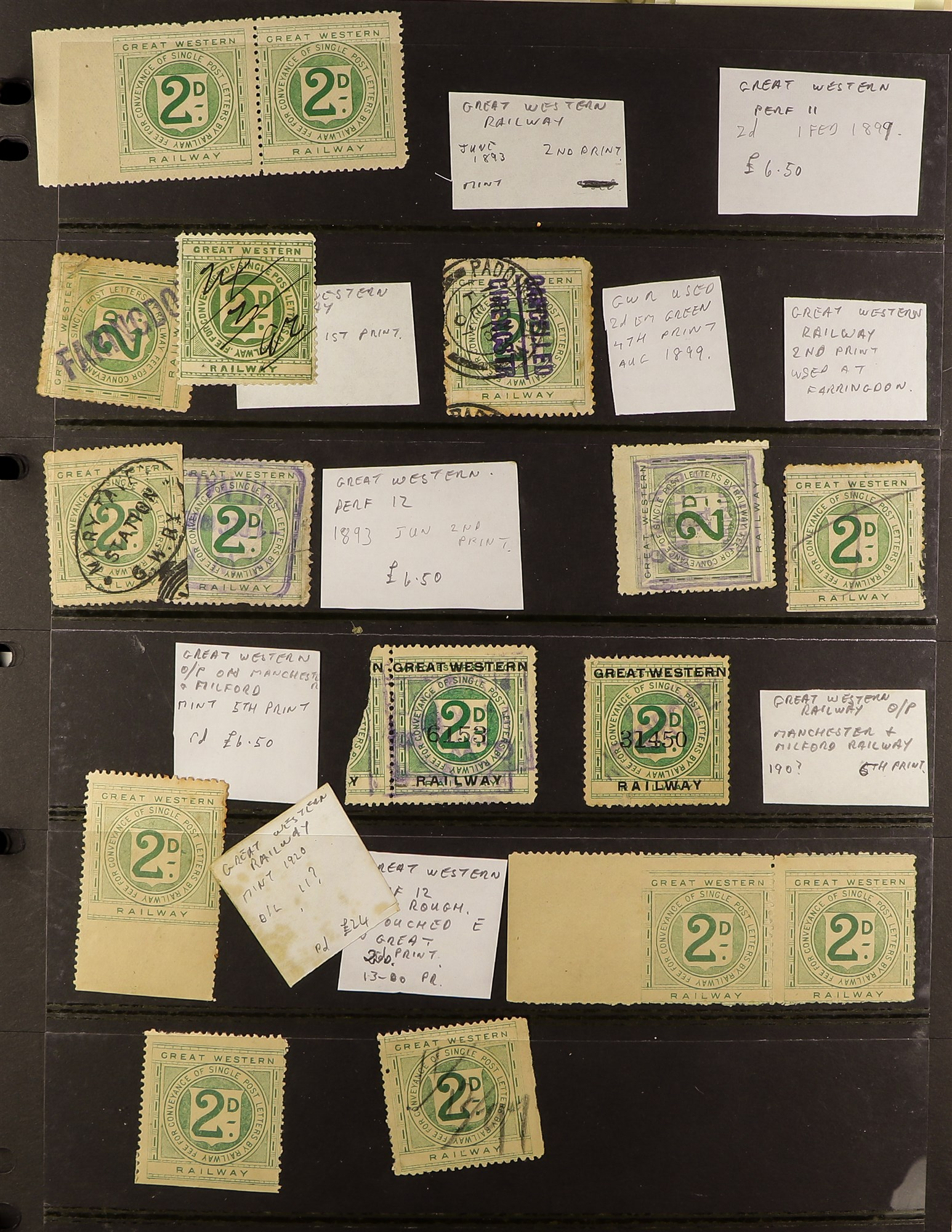 GREAT BRITAIN RAILWAY LETTER AND NEWSPAPER STAMPS 1890's-1940's COLLECTION in two albums, mint and - Image 6 of 24