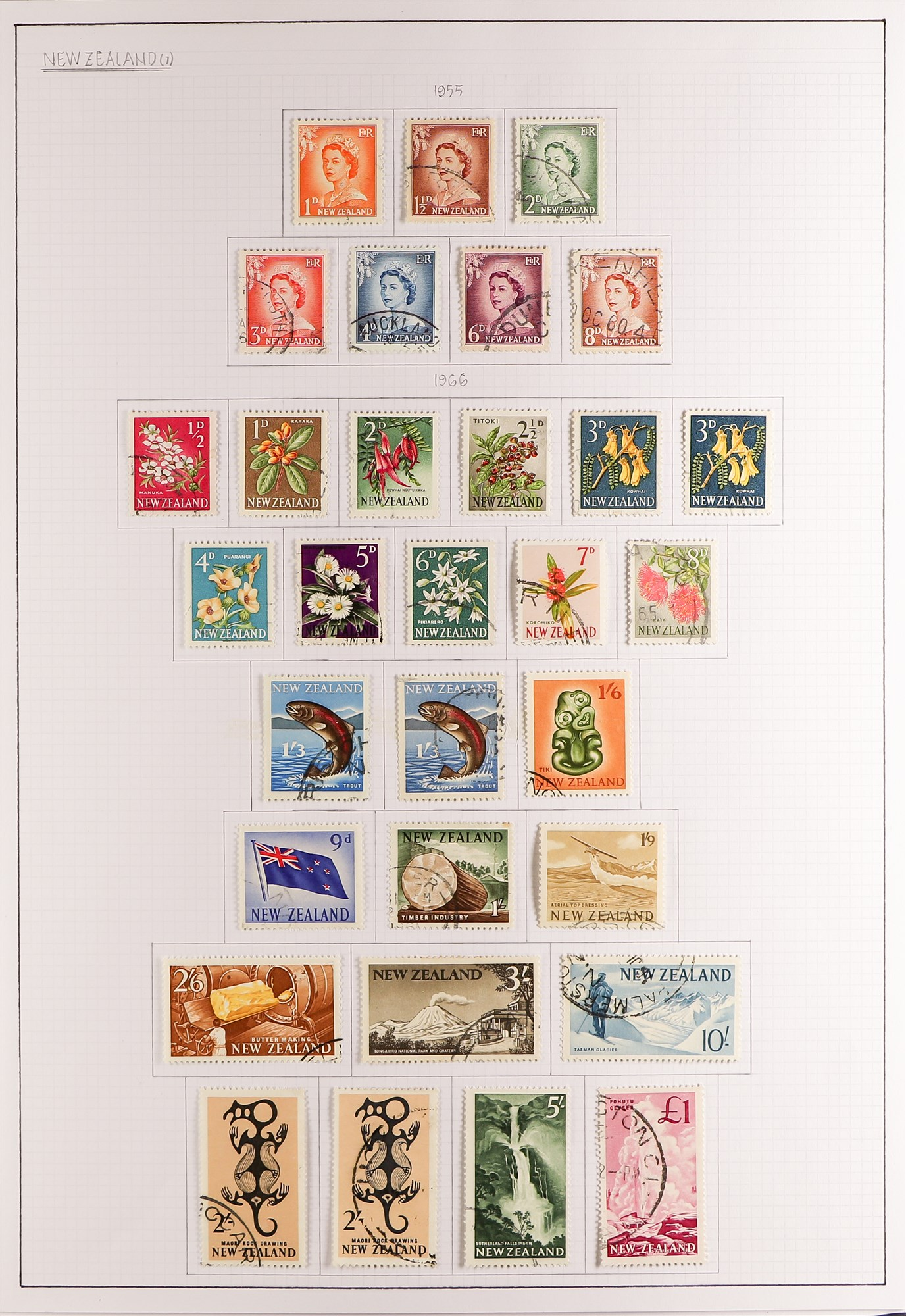 """NEW ZEALAND QV-1990'S USED COLLECTION includes 1929 1d Anti-TB, 1934 7d """"Trans-Tasman"""" opt, 1935 - Image 5 of 8"""