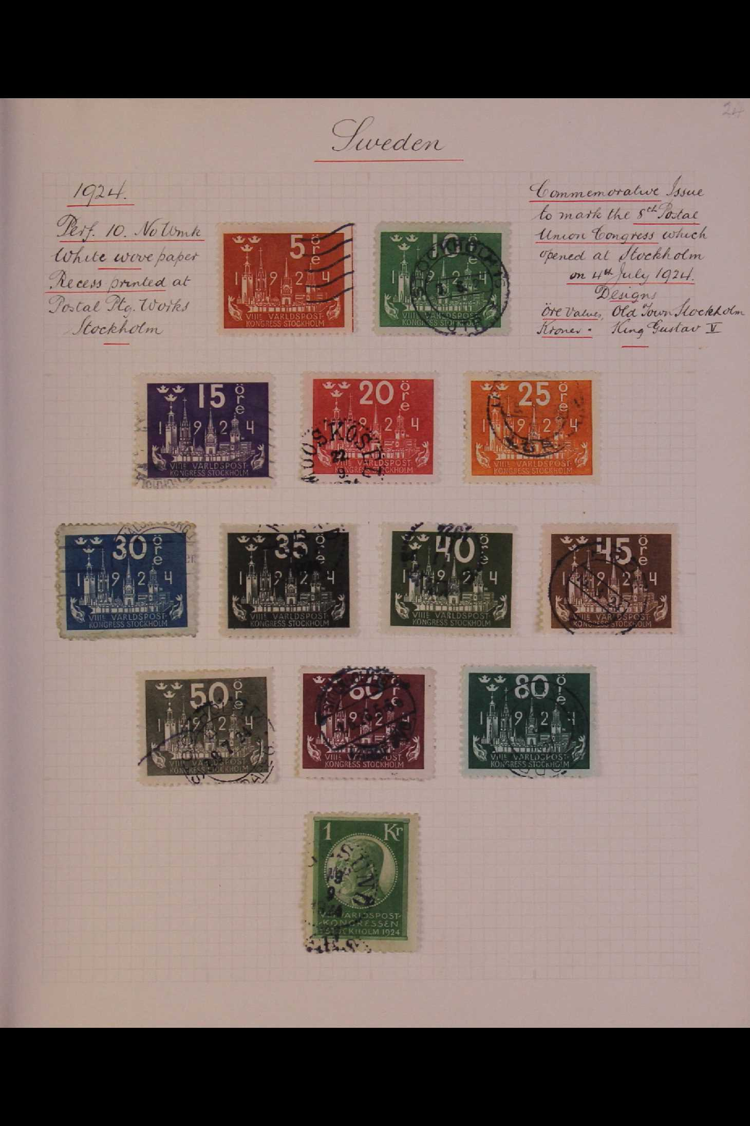 SWEDEN 1903-1966 USED COLLECTION incl. 1903 5k GPO, 1910-19 wmk Crown set, 1916 Landstorm surcharges - Image 8 of 12