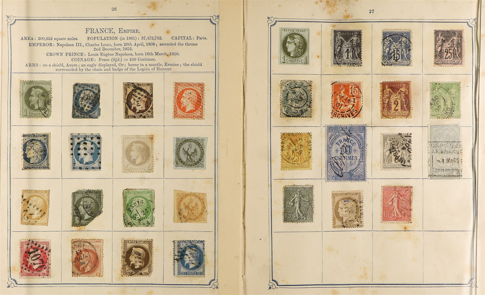 COLLECTIONS & ACCUMULATIONS OPPENS ALBUM OF WORLD CLASSICS 1870 with very mixed condition stuck down - Image 3 of 12