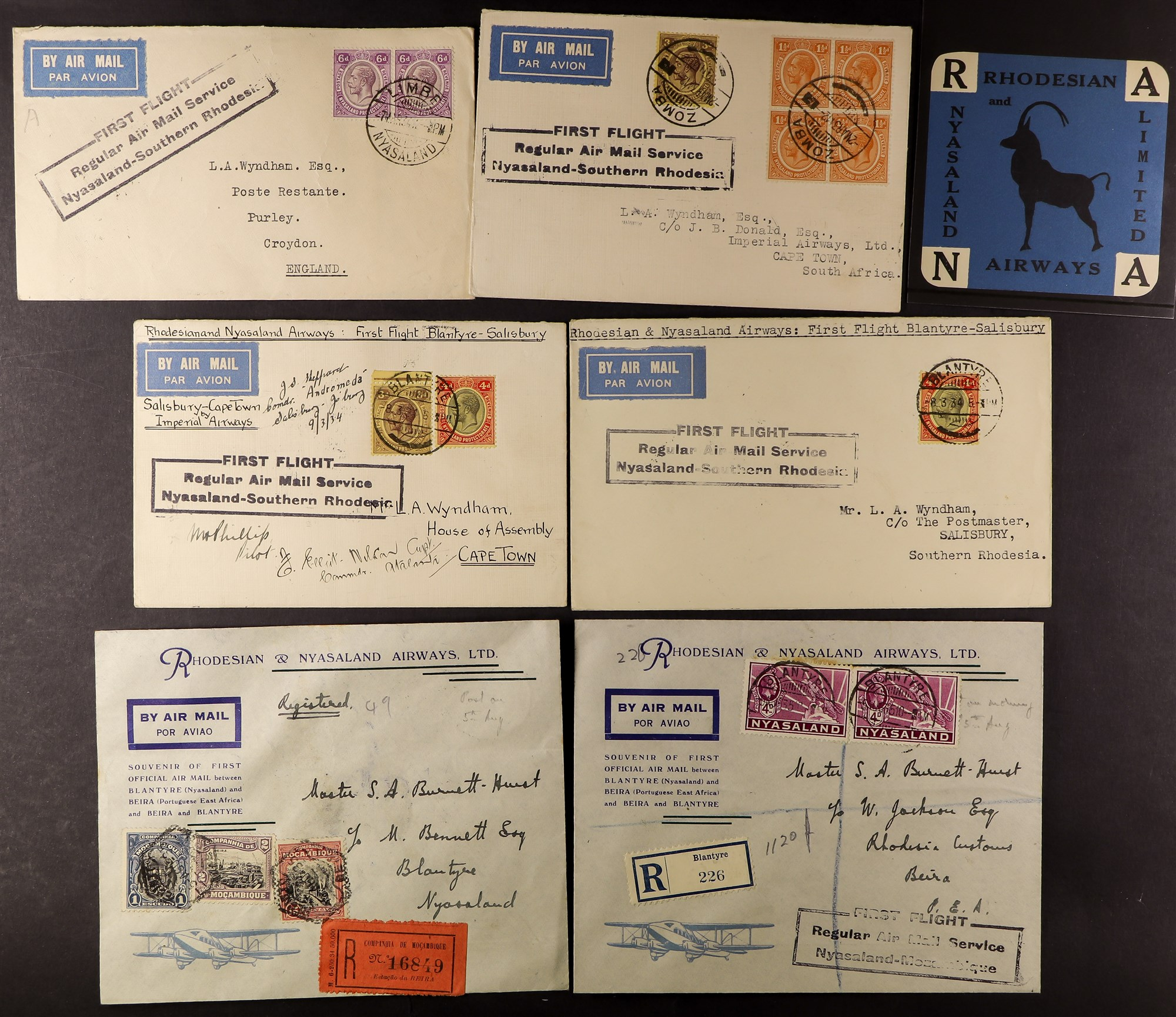 NYASALAND 1931-35 FLIGHT COVERS (March) cacheted covers for the First Flight Regular Air Mail