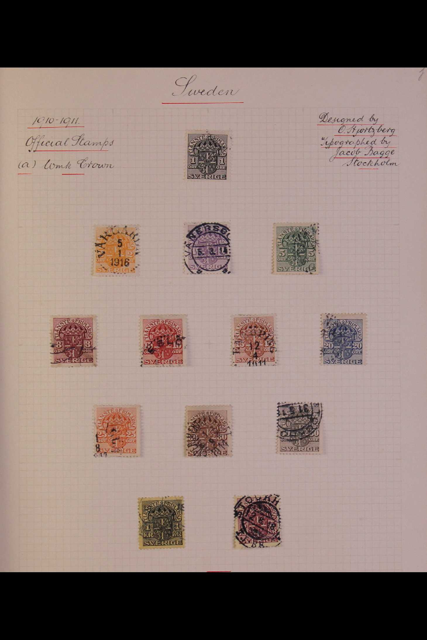 SWEDEN 1903-1966 USED COLLECTION incl. 1903 5k GPO, 1910-19 wmk Crown set, 1916 Landstorm surcharges - Image 12 of 12