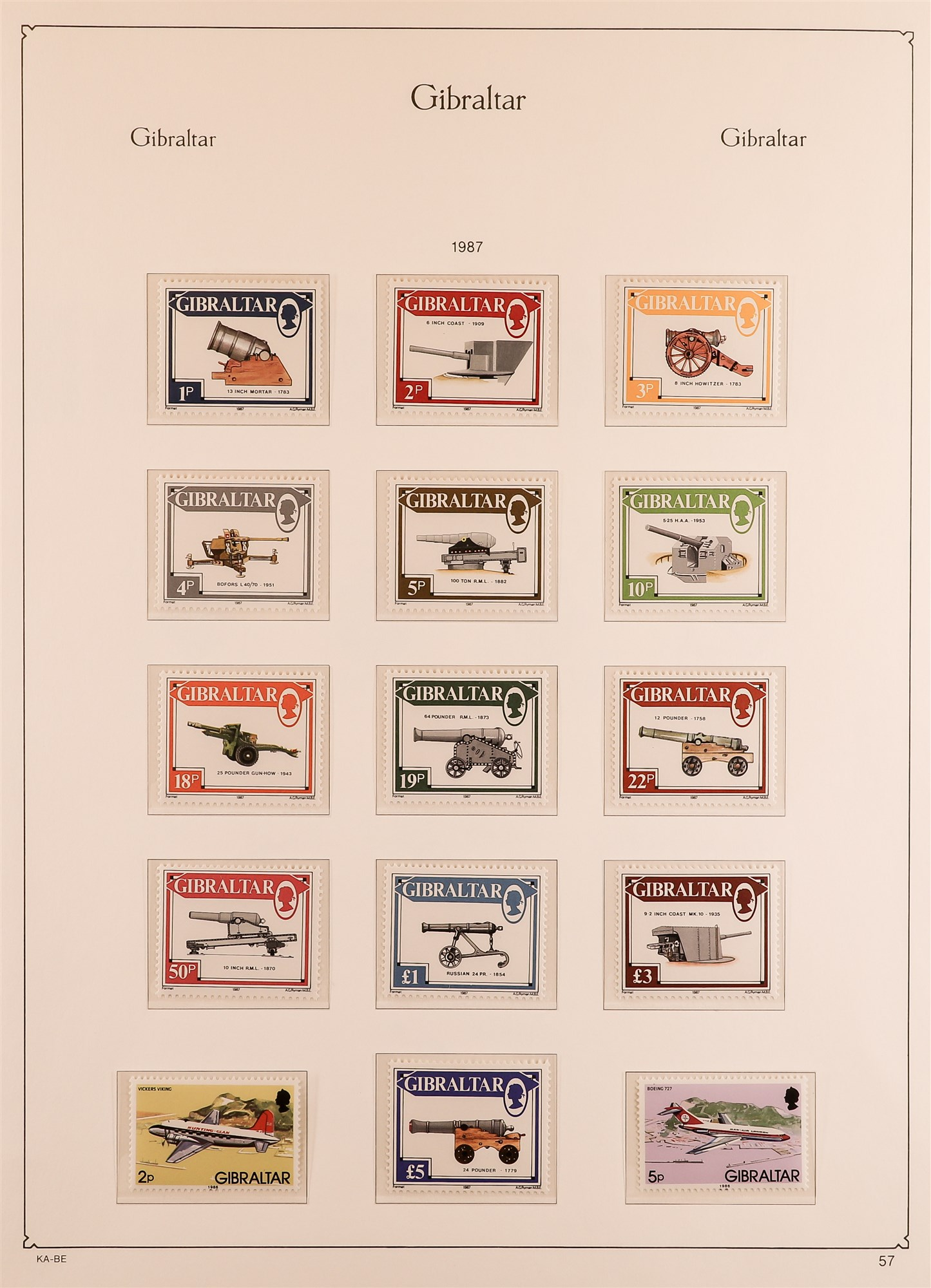 GIBRALTAR 1953-89 collection in a KA-BE album, mint incl. 1953-59 set, much of later is never hinged - Image 5 of 7