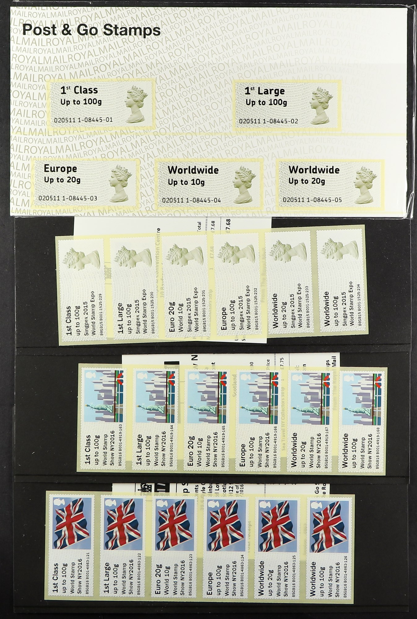 GB.ELIZABETH II POST & GO PRESENTATION PACK AND FDC COLLECTION. The packs begin with P&G 1 and end