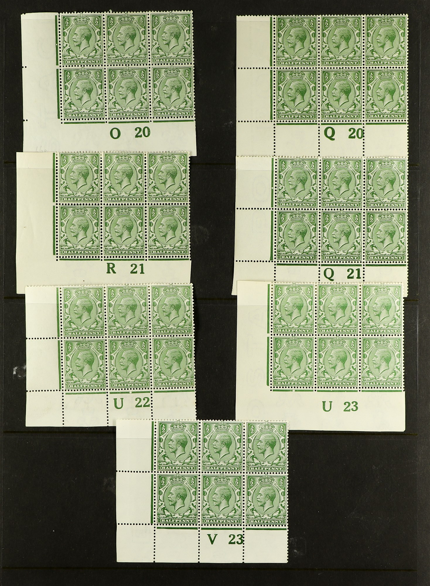 GB.GEORGE V 1912-24 Control blocks of six (one larger) with ½d (18) and 1d (3), mint. (21 items) - Image 2 of 4
