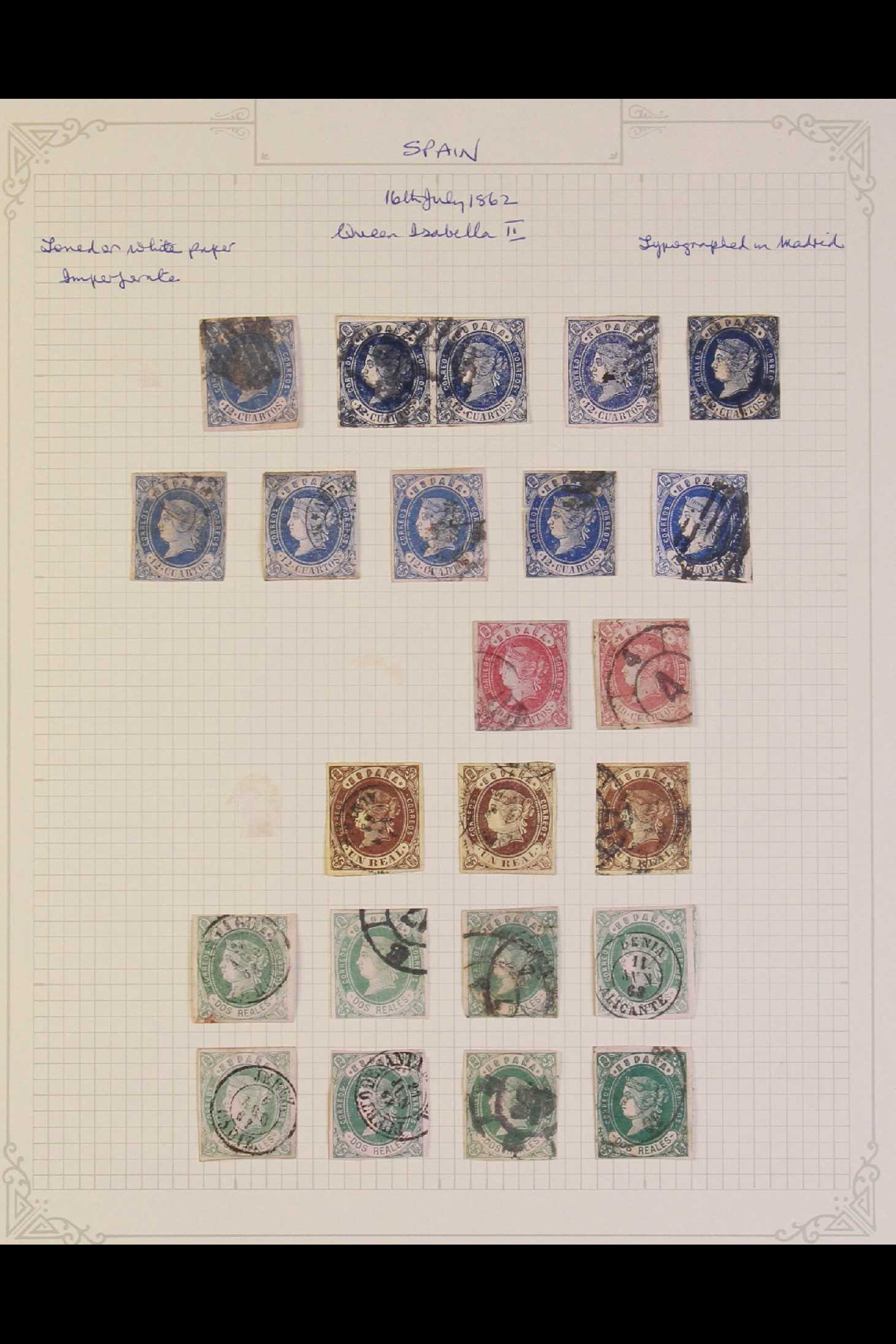 SPAIN 1862 Isabella range with2c blue x4, 4c brown on brown x16, 12c blue on rose x10, 19c - Image 2 of 2