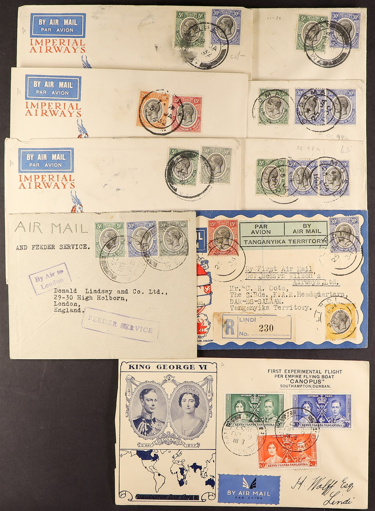 TANGANYIKA AIRMAIL COVERS COLLECTION 1931-37 a good range with some showing Tanganyika Territory Air - Image 3 of 4