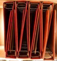 THE STUART GOLD CREST BINDERS Eight empty matching 4-ring binders - three gold and five red. (8