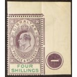GIBRALTAR 1903 4s dull purple and green, SG 53, upper right corner plate number example, stamp never