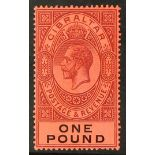 GIBRALTAR 1912 £1 dull purple and black on red, SG 85, fine mint. Cat £140.