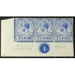 "GIBRALTAR 1912-24 2½d deep bright blue, lower left corner plate number ""1"" strip of three, one"