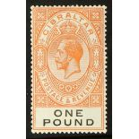 GIBRALTAR 1925-32 £1 red-orange and black, SG 107, fine mint. Cat £190.