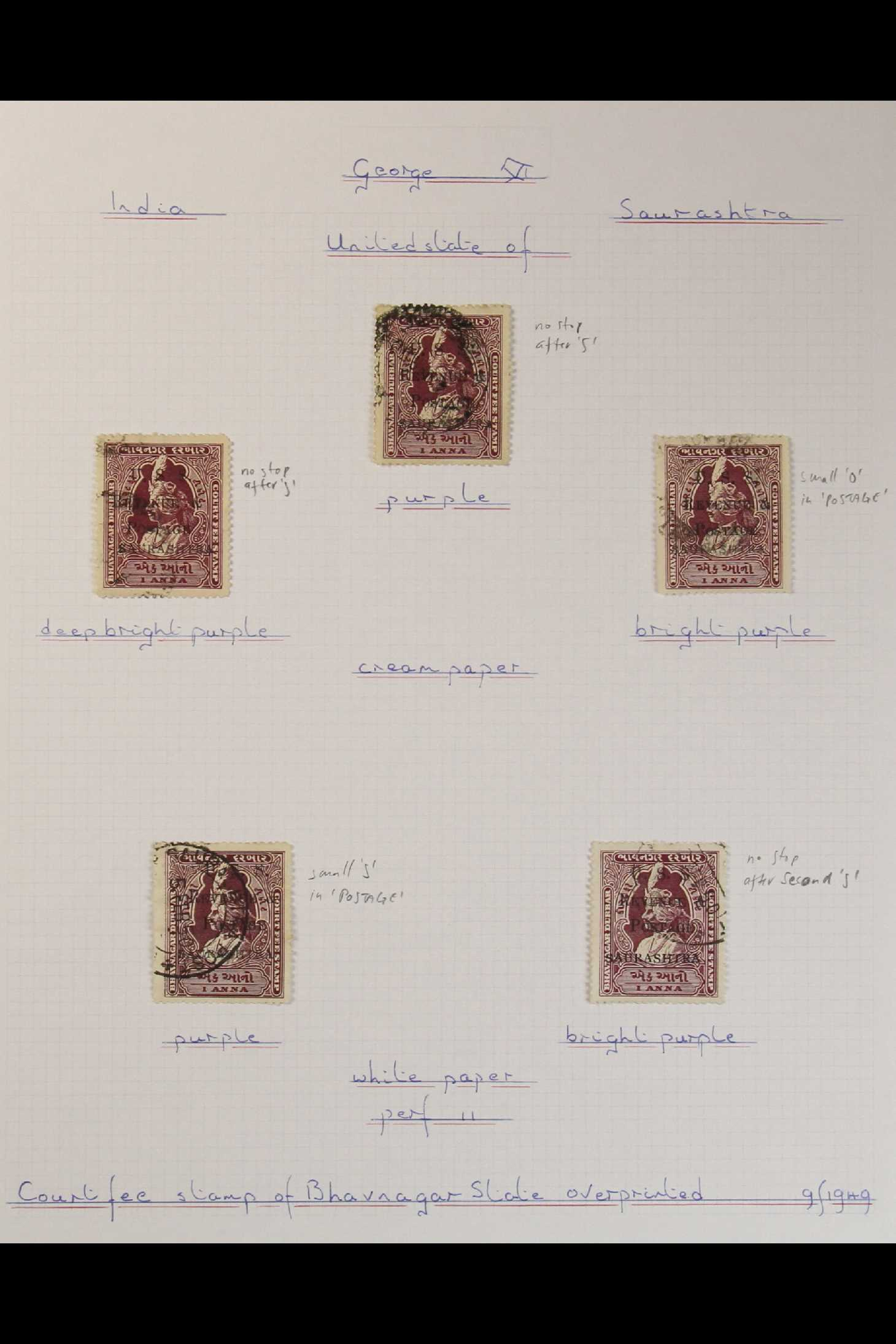 INDIAN FEUDATORY STATES SAURASHTRA 1949-1950 USED COLLECTION on leaves, includes 1949 1a on ½a opt