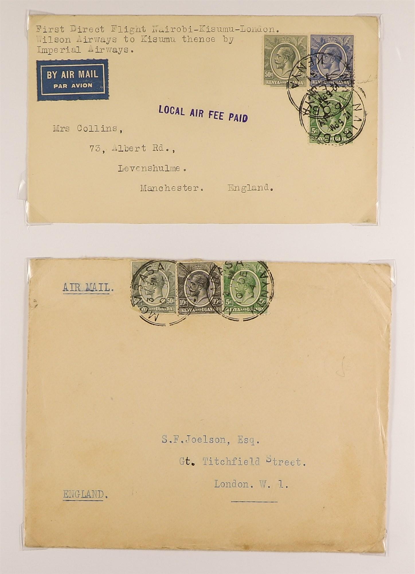 K.U.T. 1927-36 AIRMAIL COVERS COLLECTION incl. 1927 Kenya-Sudan, 1931 Christmas Flight, 1931