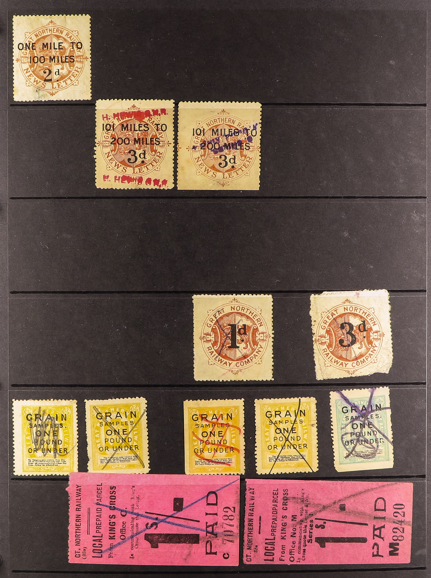 GREAT BRITAIN RAILWAY LETTER AND NEWSPAPER STAMPS 1890's-1940's COLLECTION in two albums, mint and - Image 16 of 24
