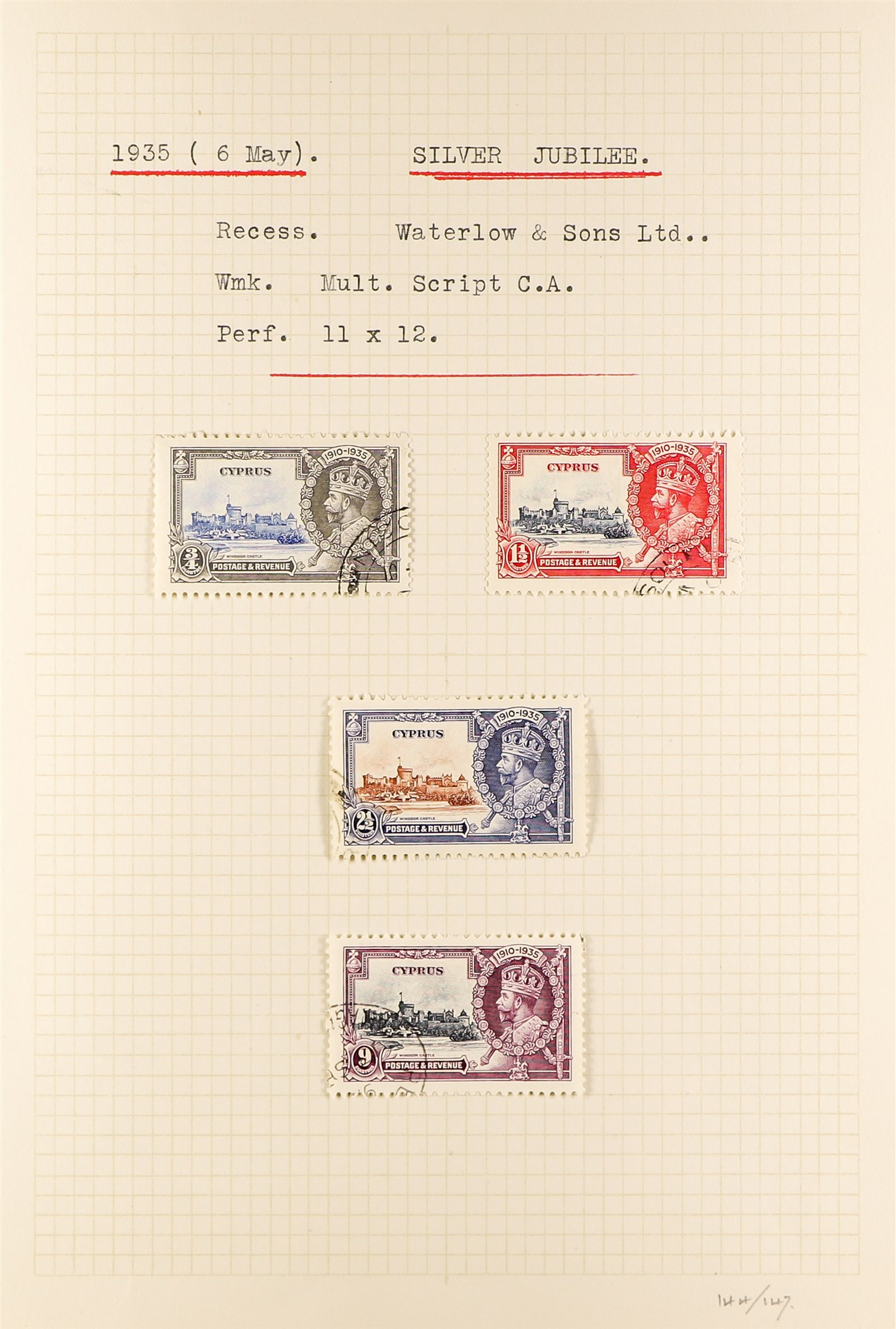 CYPRUS 1880-1935 old used collection incl. 1880 GB overprints including 2½d & ½d plate 15 used, - Image 6 of 7