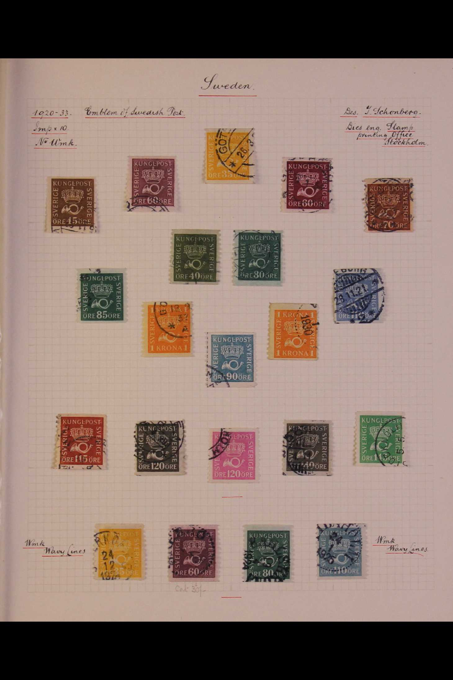 SWEDEN 1903-1966 USED COLLECTION incl. 1903 5k GPO, 1910-19 wmk Crown set, 1916 Landstorm surcharges - Image 6 of 12